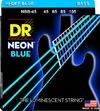DR NBB-45 Neon Blue 45-105 Medium Nickel Plated Steel Blue Coated Bass Guitar Strings