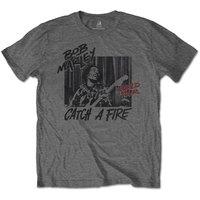 Bob Marley Catch a Fire World Tour Men's Black T-Shirt (XX-Large) - Cover