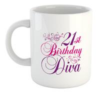Happy 21St Diva  - White Ceramic Mug - Cover