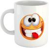Emoji Pulling Out Tongue Mug - White Ceramic Mug