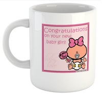 Congratulations On Your New Baby Girl - White Ceramic Mug - Cover