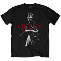 Queen Freddie Crown Men's Black T-Shirt (XXX-Large) - Cover
