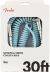 Fender Original Series 9m 1/4 Inch Jack to 1/4 Inch Angled Jack Coil Instrument Cable (Daphne Blue)