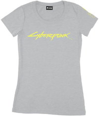 Cyberpunk 2077 Logo Womens Tee-Grey Melange T-Shirt (Small) - Cover