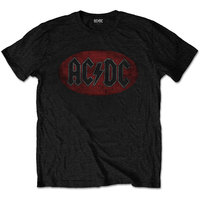 AC/DC - Oval Logo Vintage Men's T-Shirt - Black (XX-Large) - Cover