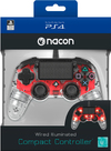 Nacon - Wired Illuminated Compact Controller - Clear Red (PS4)