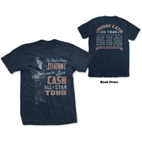 Johnny Cash All Star Tour Men's Navy T-Shirt (Small) - Cover