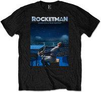 Elton John - Rocketman Starry Night Men's T-Shirt - Black (Small) - Cover