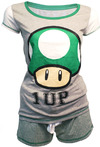 Nintendo - Shortama, Mushroom 1 UP Ladies Pajamas (Small)