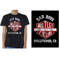 Motley Crue Bad Boys Shield Men's Black T-Shirt (X-Large) - Cover