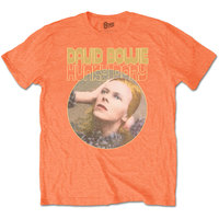 Bowie Hunky Dory Portrait Men's Orange T-Shirt (X-Large) - Cover