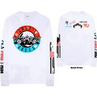 Guns N' Roses Motorcross Logo Men's White Long Sleeve T-Shirt (Small) - Cover