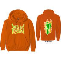 Billie Eilish - Airbrush Flames Blohsh Men's Hoodie - Orange (X-Large)