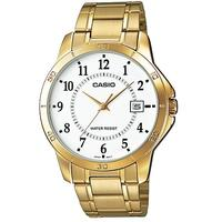 Casio Stainless Steel Analog Mens Wrist Watch - Gold and White