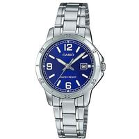 Casio Stainless Steel Analog Womens Wrist Watch - Silver and Blue