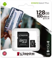 Kingston Canvas Select Plus 128GB MicroSDXC Class 10 UHS-I Memory Card - Black - Cover