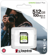 Kingston Technology - SDS2/512GB Canvas Select Plus SD Card Class 10 UHS-I 512GB Memory Card