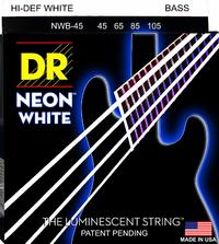 DR NWB-45 Neon White 45-105 Medium Nickel Plated Steel White Coated Bass Guitar Strings - Cover