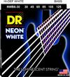 DR NWB6-30 Neon White 30-125 Medium 6-String Nickel Plated Steel White Coated Bass Guitar Strings