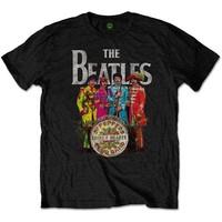 The Beatles - Sgt Pepper Men's T-Shirt - Black (Small) - Cover