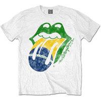 The Rolling Stones - Brazil Tongue Men's T-Shirt - White (Medium) - Cover
