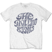 The Rolling Stones - Vintage 70s Logo Men's T-Shirt - White (Small) - Cover