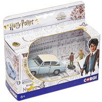 Harry Potter - Enchanted Ford Anglia w/ Harry And Ron Figures 1:43 Scale (Die-Cast Metal Collectable)