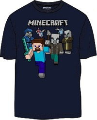 Minecraft - Woodland Battle - Teen T-Shirt - Blue (13-14 Years) - Cover