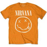 Nirvana - White Smiley Boys T-Shirt - Orange (7-8 Years) - Cover
