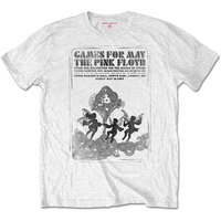 Pink Floyd - Games For May B&W Unisex T-Shirt - White (Medium) - Cover