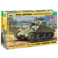 "Zvezda - 1/35 - Medium Tank M4A2 ""Sherman"" 75MM (Plastic Model Kit)"