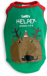 Dog's Life - Santa's Helper Reindeer Tee - Green (Large)