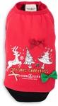 Dog's Life - Season's Greetings Reindeer and Trees Tee - Red (X-Small)