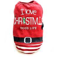 Dog's Life - I Love Christmas Tee  - Red (Large)