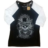 Guns N' Roses - Faded Skull Unisex Raglan T-Shirt – Black/White (Large) - Cover