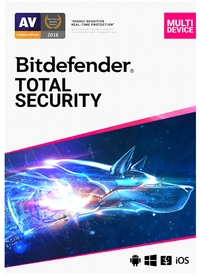 Bitdefender Total Security Complete Anti-malware Protection: Windows macOS Android and iOS - 5 Device 1 Year (ESD) - Cover