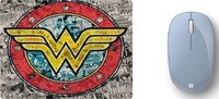Microsoft - Bluetooth Mouse with DC Comics Wonder Woman Mouse Pad 2 - Pastel Blue