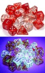 Chessex - Set of 10 D10 Dice  - Nebula: Red/Silver Luminary (Clamshell)