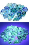 Chessex - Set of 10 D10 Dice - Nebula: Oceanic/Gold Luminary (Clamshell)