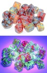 Chessex - Set of 10 D10 Dice - Nebula: Primary/Blue Luminary (Clamshell)