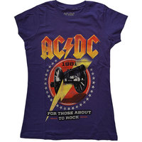 AC/DC - For Those About To Rock '81 Ladies T-Shirt - Purple (Small) - Cover