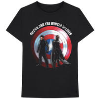 Marvel - Falcon and the Winter Soldier Shield Logo Unisex T-Shirt - Black (Large)