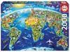 Educa - World Landmarks Globus Puzzle (2000 Pieces)