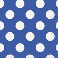 Royal Blue Polka Dot Beverage Napkin (Pack of 16) - Cover